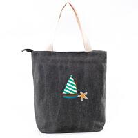 韩国简约帆布包女单肩手提包袋学生书包购物休闲包文艺布包百搭 黑色 海星