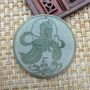 缅甸天然翡翠磨砂精雕妈祖挂件 保佑平安 配证书FBF-ACF-AOH