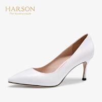 【 限时4折】哈森 2019秋季新款 通勤尖头浅口细跟单鞋 正装高跟鞋女 HL96505