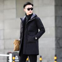 羽绒服男装冬装青年时尚中长款连帽男休闲加厚外套潮