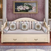 欧式客厅小户型多功能实木沙发床 两用单双人多功能可折叠小户型沙发床 1.8米-2米