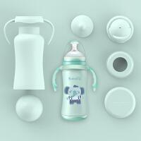 宝宝保温奶瓶带吸管婴儿不锈钢两用宽口儿童
