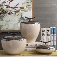 中式家具装饰品卧室软装博古架摆件创意陶瓷罐储物罐禅意摆设配饰