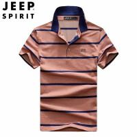 jeep吉普短袖T恤打底衫 男式夏季商务休闲体恤衫 吸汗舒适翻领条纹T恤 宽松大码半袖T恤