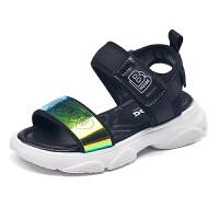 巴布豆童鞋女童凉鞋2021夏季新款儿童公主小学生软底中大童沙滩鞋-黑色