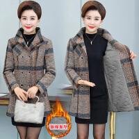 中老年女装秋冬加棉格子毛呢外套40岁50中年妈妈装中长款呢子大衣