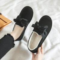 豆豆鞋女2018新款加绒保暖棉鞋面包鞋韩版百搭冬季鞋子学生毛毛鞋