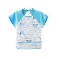 宝宝夏季薄款短袖吃饭衣儿童防水反穿衣幼儿园女童饭兜画画围兜