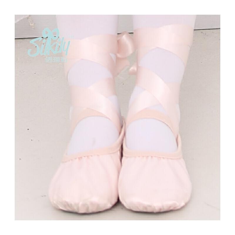 儿童舞蹈鞋猫爪鞋女童练功鞋加厚软底丝带跳舞鞋