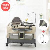 婴儿拼接床美国便携式婴儿床可折叠新生儿多功能摇篮床bb床拼接大床