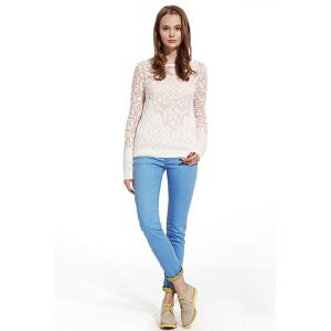 【2件2.5折到手价:19】美特斯邦威美特斯邦威女装正反异色修身直筒牛仔长裤257895