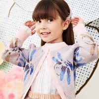 【3件7折价:293.3元】马拉丁童装女大童毛衣春装2020年新款洋气图案毛衣开衫外套