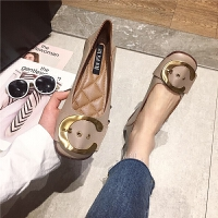 单鞋女2019新款时尚金属皮带扣浅口鞋四季平跟女鞋子百搭单鞋女鞋