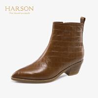 哈森2019秋冬新款牛皮革石头纹粗跟单靴女 尖头百搭短靴女HA91439
