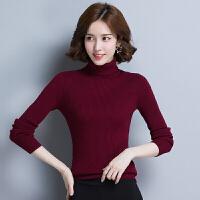 新年特惠秋冬季高领毛衣女纯色套头短款修身针织衫紧身打底衫加厚