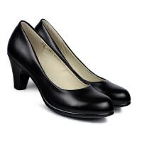 春季工作鞋女黑色高跟单鞋 正装黑皮鞋 粗跟工装职业女空姐鞋 黑色