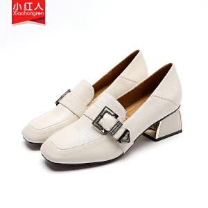 【活动中】小红人方头单鞋2019新款春季百搭韩版粗中跟英伦风女鞋复古小皮鞋 PU