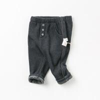 davebella戴维贝拉2019冬季新款男童加绒裤子宝宝牛仔裤DB11546