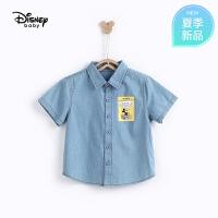 【2件3折价:69.9】迪士尼宝宝快乐星球男童梭织牛仔短袖衬衫夏季新品