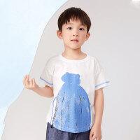 【秒杀价:99元】马拉丁童装男童T恤2020夏装新款艺术印花图案白色圆领短袖