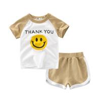 儿童套装夏季童装笑脸短袖T恤宝宝透气休闲款两件套