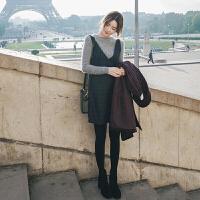 格子背带裙套装女毛衣加裙子两件套洋气女神针织毛呢连衣裙秋冬款 针织衫+吊带裙