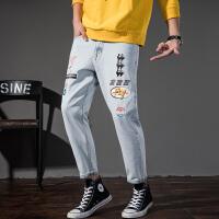 森马潮牌GLEMALL 复古水洗印花港风潮牛仔裤男春小脚裤休闲裤9分裤