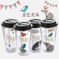 吸管杯大人双饮果汁带盖双层塑料创意ins风吸管水杯女