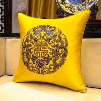 现代新中式抱枕刺绣花沙发靠背床头靠包古典大号靠枕腰枕含芯靠垫