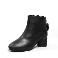欧洲新款2019秋冬韩版皮靴女 中跟保暖透气时尚短靴女靴棉靴批发