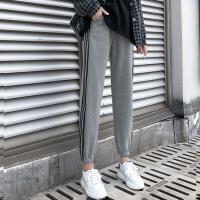 加绒运动裤女三条杠束脚宽松高腰冬季保暖加厚外穿韩版休闲女裤子