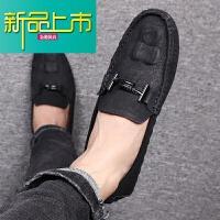 新品上市男鞋冬季潮鞋19新款豆豆鞋韩版潮流英伦痘痘休闲皮鞋懒人社会黑