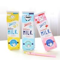 卡通简约牛奶盒笔袋可爱韩国创意大容量中小学生文具女简约铅笔盒