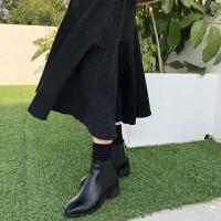 切尔西靴方头粗跟中高跟短靴女2018秋冬新款欧美时尚简约松紧套筒 黑色