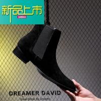 新品上市18男靴子韩版潮流个性高帮时尚百搭靴男马丁靴时装靴红人