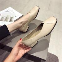 2019新款单鞋奶奶鞋时尚方头舒适低粗跟女单鞋复古韩版休闲女鞋