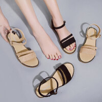 时尚百搭女士温柔风凉鞋 chic风平底学生鞋新款一字扣凉鞋女沙滩罗马鞋