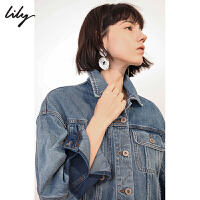 【不打烊价:279元】 Lily春新款女装时尚拼色全棉牛仔宽松休闲短外套119130G3402