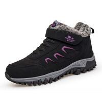 冬季妈妈鞋加绒保暖滑软底中老年运动鞋安全奶奶鞋