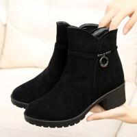 冬季布鞋女加绒加厚保暖中老年妈妈女短靴子时尚马丁靴