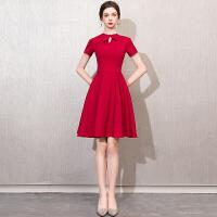 新年特惠红色新娘敬酒服2019新款短款冬季结婚小礼服裙女回门服冬显瘦洋装 酒红色