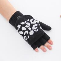 大码中老年半指翻盖手套冬季保暖加厚双层针织毛线五指半截加大