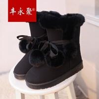 丰永聚新款雪地靴女中筒保暖平跟蝴蝶结系绑带毛球可爱加厚学生靴