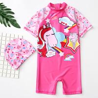 儿童泳衣女童中连体游泳衣女孩宝宝婴幼儿防晒温泉泳套装