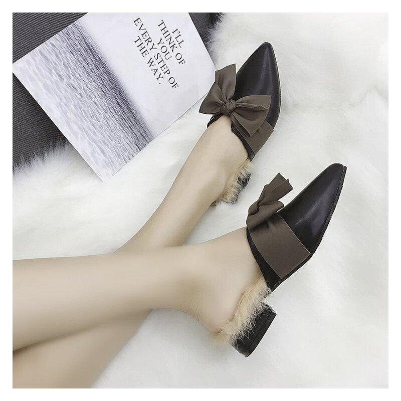 拖鞋女冬外穿加绒包头蝴蝶结粗跟低跟3cm尖头显瘦2018秋冬季新款