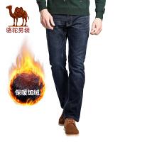 骆驼男装 秋季新款拉链直脚长裤 无弹中高腰直筒纯色牛仔裤男