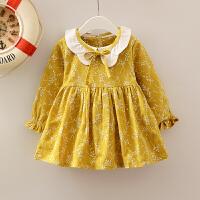 女孩棉磨毛女宝宝婴幼儿装长袖女童秋天公主连衣裙1-2-3-4岁