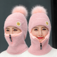 毛线帽子女秋冬季骑车加绒保暖韩版潮冬天护耳针织一体套头帽护脸