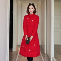 秋冬天棉外套民族风刺绣旗袍棉衣棉袄女士防寒服棉大衣。