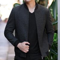 )毛呢外套男秋冬季短款商务休闲黑色夹克男装中年男士棒球领